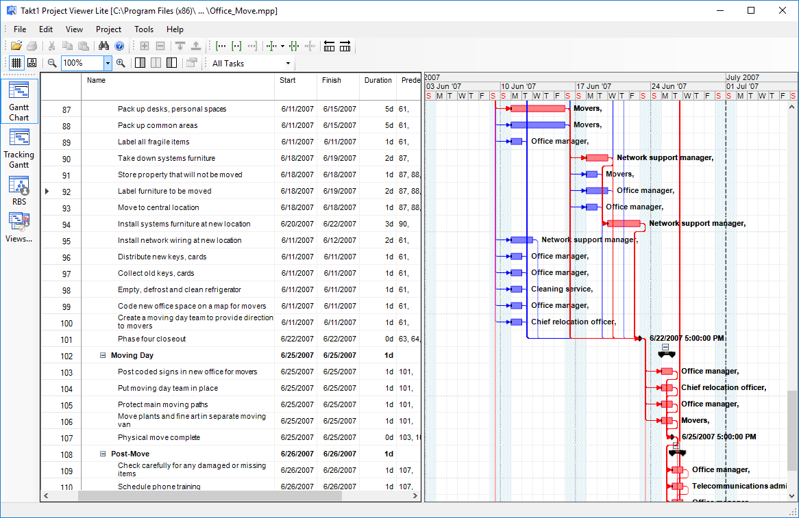 Project Viewer Lite for Microsoft Project 2003 - 2016 files. Free project viewer for Windows desktop with configurable Gantt charts and Resources views for project stakeholders and staff, who need to be informed throughout the project